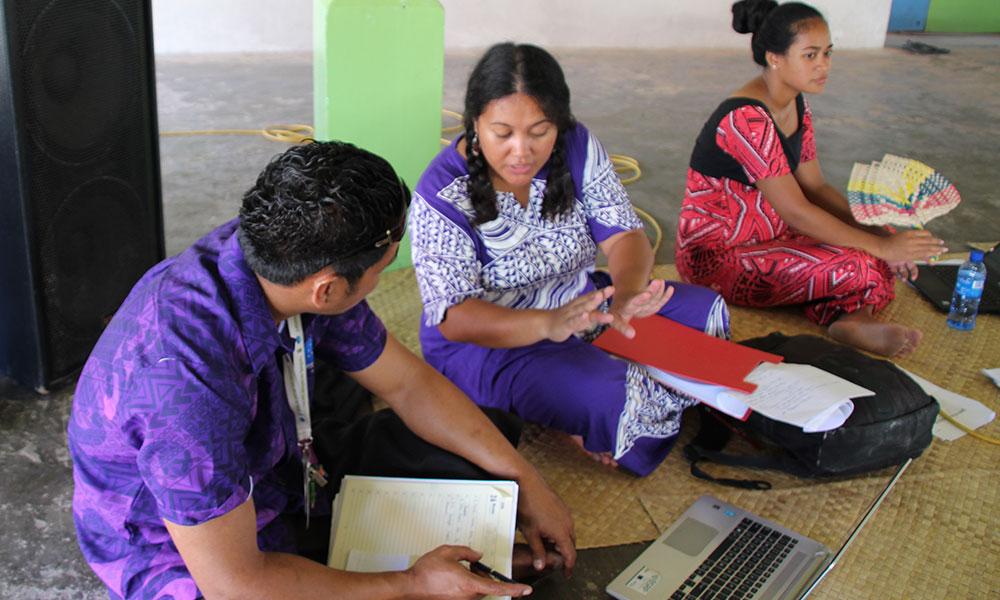 Community consultations on the TCAP project happening.Nanumea Island,Tuvalu, Nov 2017. Photo: UNDP/Jone Feresi