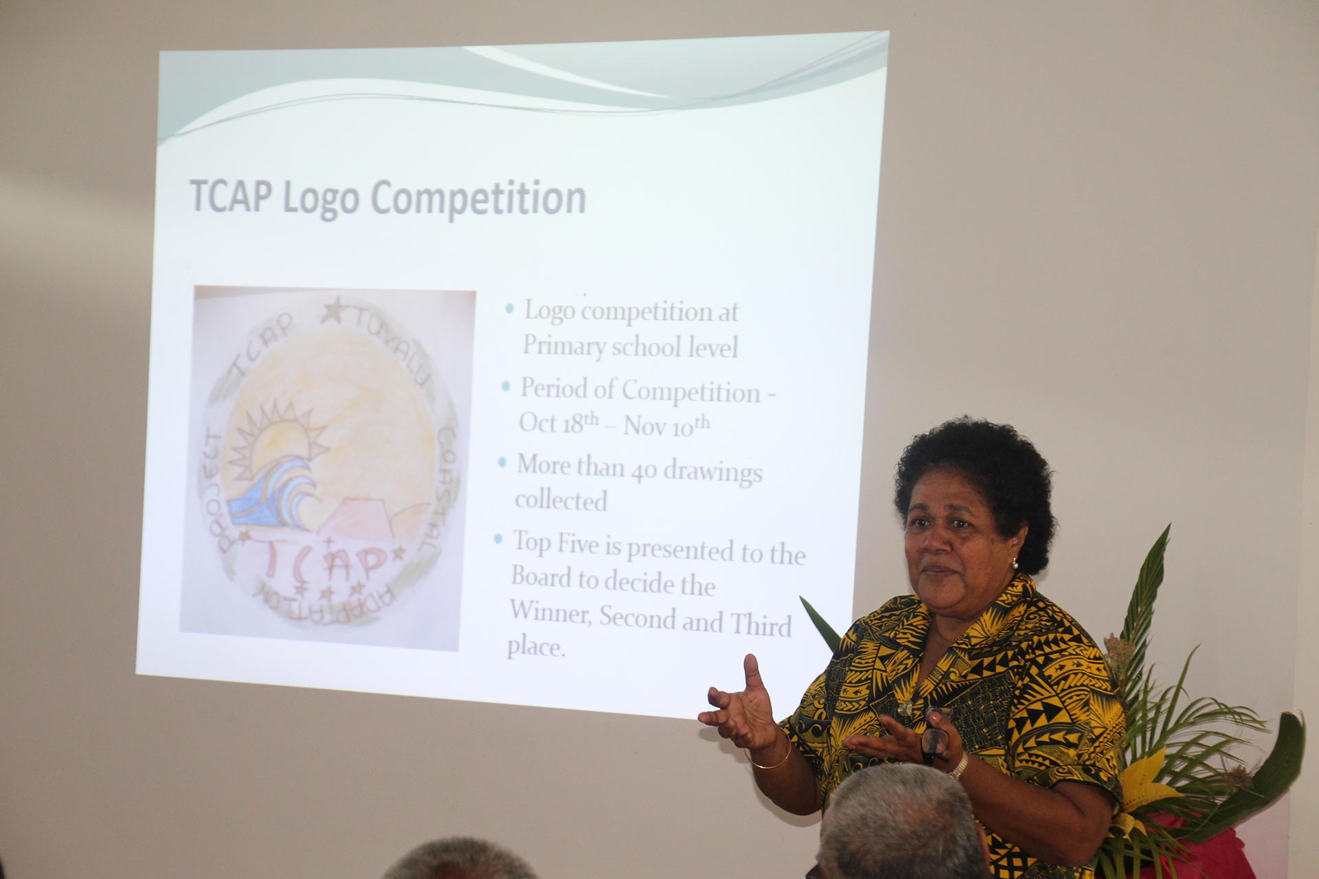 """Launch of logo competition. Photo by UNDP  The Tuvalu Coastal Adaptation Project invited primary school students to design a project logo. 12-year old Ms Fogaese Lisale of Funafuti won the contest"""" -- see  https://twitter.com/TCAPforTu8/status/958560191708004353"""