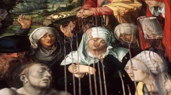 """Albrecht Dürer, """"The Lamentation of Christ (detail)"""" (1500) / acid    In April 1988, serial vandal   Hans-Joachim Bohlmann   poured sulfuric acid over three major works by Albrecht Dürer while visiting the Alte Pinakothek in Munich (""""Paumgartner Altar"""", """"Lamentation of Christ,"""" and """"Maria as Sorrowful Mother"""").  Bohlmann was convicted in 1989 for harming property damage and given two years imprisonment, followed by placement in a district mental hospital."""