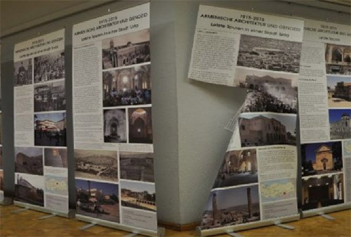 """""""1915-2015: Armenian Architecture and Genocide"""" / knife   In January 2016, the exhibition """"1915-2015: Armenian Architecture and Genocide,"""" organized by the   German-Armenian Society, was damaged while on view in  Aachen, Germany.  Officials say an unidentified party used a blade to damage the presentation, which compared visuals from Armenian culture and architecture in the Ottoman Empire before 1915 to their current state."""