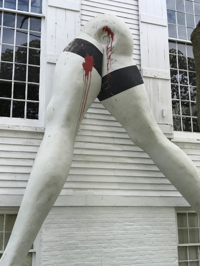 "Larry Rivers, ""Legs"" (1969) / paint  In June 2017, this 16-ft fiberglass sculpture was vandalized while on view outside the home of gallerists Janet Lehr and Ruth Vered in the Village of Sag Harbor in the Hamptons. The piece had been the subject of some controversy in the weeks leading up to the incident, as local officials argued it violated zoning rules; only days after citations were issued, unidentified parties splashed the work with red paint.   While the damage was repairable, the citations for removal stood."