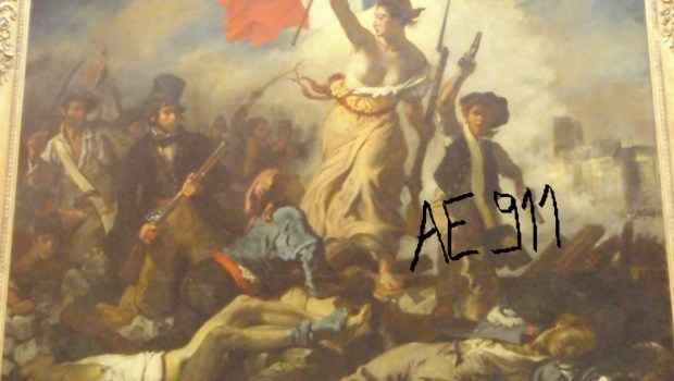 "Delacroix's ""La Liberte Guidant Le Peuple"" (1830) after it was damaged on February 7, 2013 while on view at the Louvre-Lens in northern France. A 28-year-old woman used a permanent marker to scrawl ""AE911,"" which apparently referred to the conspiracy theory group Architects and Engineers for 9/11 Truth. The woman was immediately apprehended; the painting was restored and placed back on view soon after."