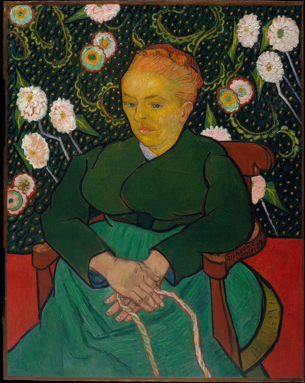 "Vincent Van Gogh, ""Le Berceuse"" (1888) / Stanley knife  In April 1978, this painting was damaged while on view at the Stedelijk Museum in Amsterdam. An unidentified 31-year-old Dutch man used a Stanley knife to make three 30–40cm cuts in the center of the painting before being overpowered by guards and taken into custody.   The man, a struggling artist, said his act had been one of protest against Amsterdam authorities - particularly the Beeldende Kunstenaars Regeling, who had denied him welfare payments that would have supported his artmaking.    Though severely damaged, the painting was eventually restored and returned to public view."