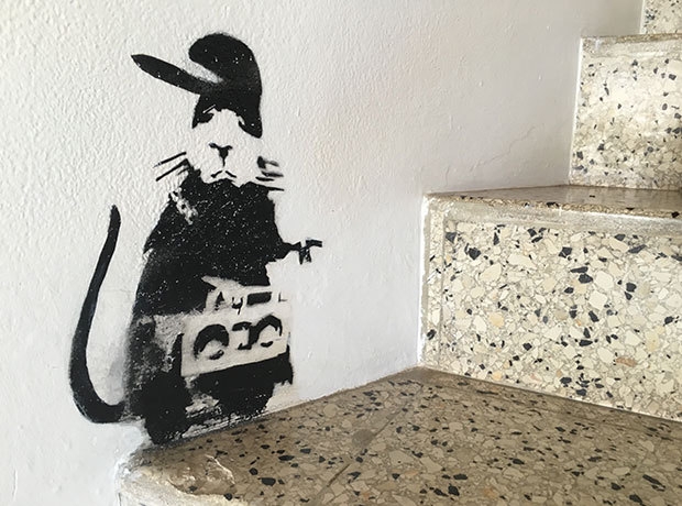 "various Banksy stencils / building workers  In March 2017, numerous wall works by Banksy were inadvertently destroyed while on view at the Geejam Hotel in Jamaica.  According to reports, Banksy had stayed at the hotel in 2006, leaving 11 stenciled pieces throughout the property as a gift to the owners. Ten years later, building workers overseeing repairs to the hotel mistook the works for graffiti and painted over many of the pieces.  The hotel owners were ""mortified,""; while a company was called in to survey the damage, and are understood to have suggested a paint-stripping service at a cost of around £120,000, the pieces were deemed damaged beyond repair."