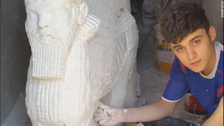 """When footage emerged of ISIS destroying the ancient city of Nimrud outside Mosul, the world stood powerless in the face of a group of militants using sledgehammers and electric drills to obliterate centuries-old archaeological gems.         But 17-year-old Nenous Thabit rolled up his sleeves and began work on replicating the sculptures. ""They waged a war on art and culture, so I decided to fight them with art,"" he says. He did so by sculpting immaculate statues that resembled some of the most precious Assyrian artifacts lost in Nimrud and other ancient areas in and around Mosul.        In a modest apartment in the Kurdish city of Irbil, where Thabit and his family took refuge after fleeing Mosul, the young artist has meticulously carved 18 Assyrian statues and one mural over the past year."""