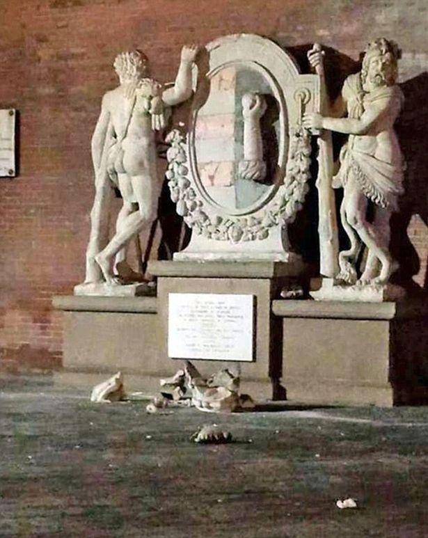 Statue of the Two Hercules  (circa 1700) / tourists   In May 2015, this outdoor sculpture was damaged while on display in the northern Italian city of Cremona. Having climbed upon the work in the hopes of taking a selfie, a pair of tourists accidentally knocked off a portion of the statue's crown, which shattered on the ground.  The two perpetrators were identified by police but were not charged with a crime. The crown was shattered beyond repair.