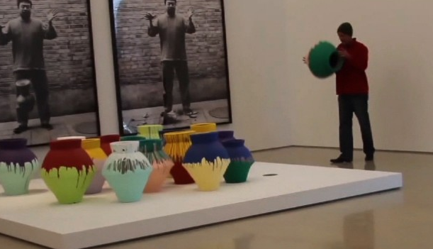 """Ai Weiwei vase / dropped in protest   On February 18, 2014, a painted vase by Ai Weiwei was destroyed while on view at the Perez Art Museum in Miami. That afternoon, Maximo Caminero, a 51-year-old local artist, picked the work up and, when told by a security guard to put it down, dropped it to the ground, smashing the vase into pieces. Caminero later explained that theact was a protest against the gallery's decision to only display international art, saying,""""I did it for all the local artists in Miami that have never been shown in museums here. They have spent so many millions now on international artists.It's the same political situation over and over again. I've been here for 30 years and it's always the same.""""   Caminero also explained that the act was directly inspired by Ai's work - specifically """"Dropping A Han Dynasty Urn,"""" a series of photographs which shows Ai himself dropping a vase to the ground.""""It was a spontaneous protest,"""" he explained. """"I was at PAMM and saw Ai Weiwei's photos behind the vases where he drops an ancient Chinese vase and breaks it.I saw it as a provocation by Weiwei tojoin him in an act of performance protest.I admire Ai Weiwei greatly and have always supported his actions.""""   The work, valued at over $1 million, was destroyed beyond restoration."""
