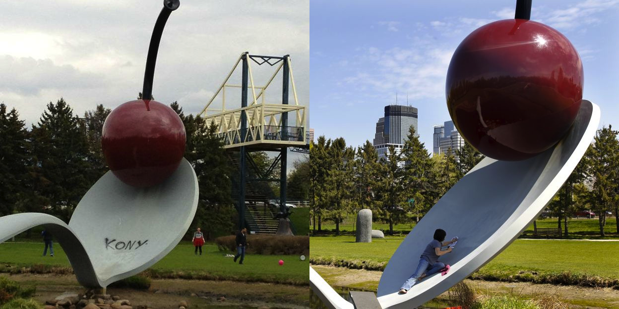 "Claes Oldenberg and Coosje van Bruggen ""Spoonbridge and Cherry"" / Spray paint   (In April 2012, unidentified parties entered the Minneapolis Sculpture Garden at around 1:30 AM and spray painted ""Kony"" on three artworks,  including this sculpture. The vandals were presumed to be supporters of the  Kony 2012  campagin. The works were successfully restored two days later.)"