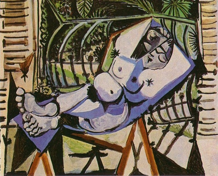 """Pablo Picasso """"Femme Nue Devant Le Jardin"""" / knife   (In 1999, a 41-year-old man identified only as """"Paul G."""" used a knife to cut a large, ragged hole into this painting while it was on view at Amsterdam's Stedelijk Museum of Modern Art. After slashing the work, the man went to a newspaper office, where he boasted of his crime to a reporter, and was arrested soon after.   The same man, an escaped mental patient, had attacked Rembrandt's painting """"Night Watch"""" nine years earlier. In 1977, he'd also unsuccessfully attempted to hijack a KLM Royal Dutch Airlines flight using a toy gun.)"""