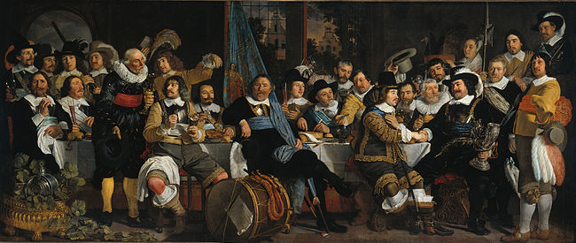 """Bartholomeus van der Helst """"Banquet of the Amsterdam Civic Guard in Celebration of the Peace of Munster"""" / fire   (In June 2006, serial vandal  Hans Joachim Bohlmann  splashed lighter fluid on this painting and set it on fire while it was on view at the Rijkmuseum in Amsterdam. Most damage was done to the varnish layer, which was able to be restored.)"""