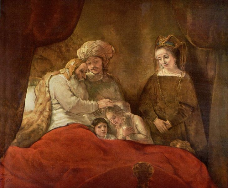 """Rembrandt """"Jacob Blessing Joseph's Second Son"""" (pictured above) and Willem Drost """"Noli Me Tangere"""" / acid   (These two works were both vandalized by  Hans Joachim Bohlmann  on October 7, 1977 while on view at the Schloss Wilhemlshohe in Kassel Germany. In his attacks, Bohlmann was primarily targeting the faces of the personages, trying to inflict maximum damage.)"""