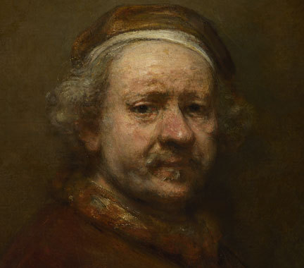 """Rembrandt """"Self Portrait at the Age of 63"""" / paint   (In 1998, a 26-year-old nudist activist (and former art student) named Vincent Bethell used yellow paint to draw a large dollar sign on this work while it was on view at London's National Gallery. Bethell, who entered the museum wearing a woman's floral print dress, had attached a tube of paint to his thigh with rubber bands. He stood in front of the work for over fifteen minutes before stripping naked and applying paint to the canvas. He was quickly subdued by security.   As Bethell later explained, """"I was attempting to highlight the injustice of criminalising public nakedness. It was a naked protest that attempted to gain the right to be naked in public."""")"""