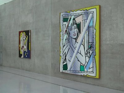 """Roy Lichtenstein """"Nude in Mirror"""" / knife   (In 2005, a woman visiting a Lichtenstein retrospective at Austria's Kunsthaus Bregenz suddenly pulled a knife from her handbag and repeatedly stabbed this work, leaving four 12-inch-long slashes in the canvas. Upon her arrest, police found that her purse also contained a screwdriver and a can of red spray paint, which she said she hadn't had time to use. She said she attacked the work because she thought it was a forgery.)"""