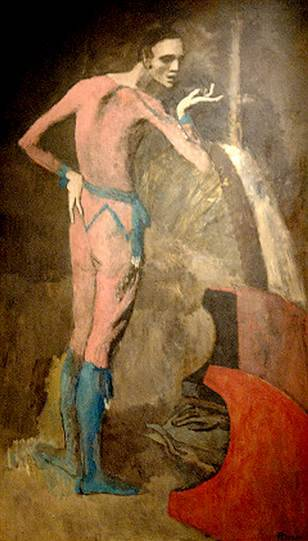 """Pablo Picasso """"The Actor"""" / accidentally ripped   (In 2010, a female art student was visiting the Metropolitan Museum in New York when she lost her balance and crashed into the artwork, causing a six inch vertical gash in the bottom right corner of the canvas. The work was eventually restored and reinstalled.)"""