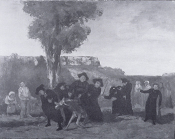 """Gustave Courbet """"The Return from the Conference"""" / anonymous Catholic   (In 1909, this work - a depiction of drunken priests stumbling down a country road- was bought and destroyed by a private citizen who, as a strict Catholic, considered the work anti-clerical.   Interestingly, this was precisely the sort of reaction the artist had hoped for. Courbet created the work for the expressed purpose of being refused entry into the 1863 Paris Salon, which he felt would bring him some useful notoriety. Things went according to plan: while the painting was indeed rejected on the grounds of its being """"an outrage on religious morality,"""" and was even denied a spot in the Salon des Refusés, the resulting controversy garnered the artist a great deal of attention. Said Courbet: """"I painted the picture so that it would be refused. I have succeeded. That way it will bring me some money."""")"""