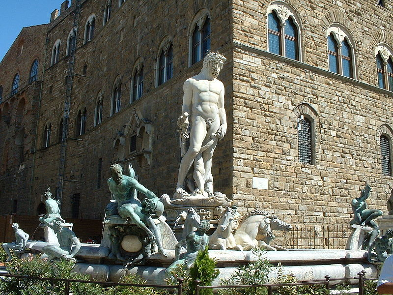 """Bartolomeo Ammannati """"Fountain of Neptune"""" / various   (This fountain, dating back to the 16th century and standing at the center of the Piazza della Signoria in Florence, has been vandalized on numerous occasions:   1) In 1982, one of Neptune's shoulders was painted bright blue following a win by the Fiorentina soccer club.   2) In 1981, 1986, and 1989, the hooves of the horses were broken off and had to be replaced.   3) In 2005, three young men climbed the statue, damaging one of the hands and trident.   4) In 2006, a drunk man, wishing to have his picture taken with the statue, climbed it and tried standing on its left hand. The hand broke off, sending the man falling into the water below.)"""