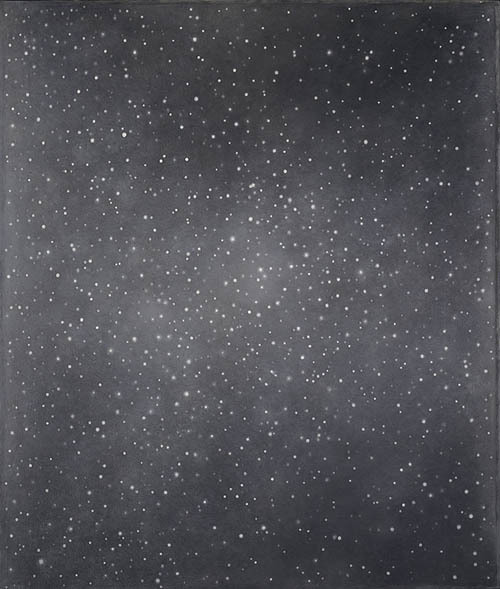 "Vija Celmens ""Night Sky #2"" / keys   (In 2008, while on view at the Carnegie Museum of Art in Pittsburgh, Celmens' work was attacked by a museum guard, who scratched the canvas' surface with his keys.   ""I didn't like the painting,"" guard Timur Serebrykov told police when they arrested him. ""I'm sorry.""   The painting was restored, although it still bears a faint scar.)"