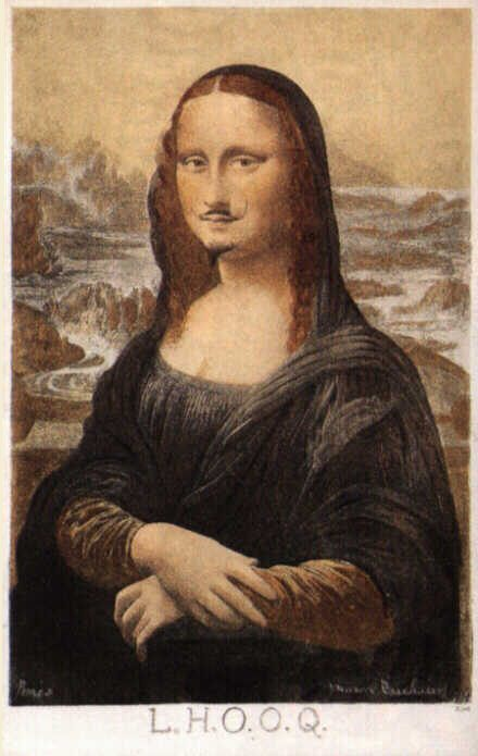 "Leonardo da Vinci ""Mona Lisa"" (postcard reproduction) / pencil   (In 1919, artist Marcel Duchamp used a pencil to drew a mustache and beard on a cheap postcard reproduction of da Vinci's iconic portrait. Beneath the image, he wrote "" L.H.O.O.Q.,""  which, when read aloud, sounds like ""Elle a chaud au cul"", translated as ""She has a hot ass,"" or alternatively ""there is fire down below.""   He later presented an untouched black and white reproduction of the Mona Lisa, mounted on card, as a work titled "" L.H.O.O.Q., Shaved ."")"