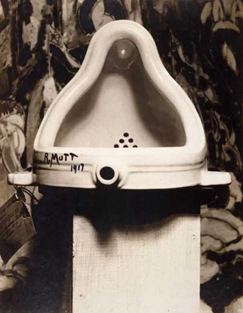 """Marcel Duchamp """"Fountain"""" / hammer, urine   (Duchamp's infamous 1917 sculpture has been vandalized (or """"intervened"""") on numerous occasions:   1) Musician/artist Brian Eno claimed to be the first to urinate into the work, while it was on display at the MOMA in 1995. As he wrote in his book  A Year With Swollen Appendices :   """"I positioned myself before the display case, concentrating intensely on its contents. There was a guard standing behind be and 12 feet away. I opened my fly and slipped out the tube, feeding it carefully through the slot in the glass. It was a perfect fit and slid in quite easily until its end was poised above the famous john. I released my thumb and a small but distinct trickle of my urine splashed on the work of art. """"   2) French artist Pierre Pinoncelli urinated into the piece while it was on display in Nimes, France in 1993. Later, in 2006, while """"Fountain"""" was on display in Paris, the then 76-year-old Pinoncelli attacked the work with a hammer, causing a slight chip. Upon being arrested, Pinoncelli said the attack was a work of performance art that Duchamp himself would have appreciated.   3) Chinese performance art duo Yuan Chai and Jian Jun Xi urinated on the work while it was on display in London in 2000. They were prevented from soiling the sculpture directly by its Perspex case. When asked why they felt they had to add to Duchamp's work, Chai said, """"The urinal is there – it's an invitation. As Duchamp said himself, it's the artist's choice. He chooses what is art. We just added to it.""""   4) South African artist Kendell Geers urinated into the work while it was on display in Venice in 1993.   5) Swedish artist Björn Kjelltoft urinated into the work while it was on diplay in Stockholm in 1999.)"""