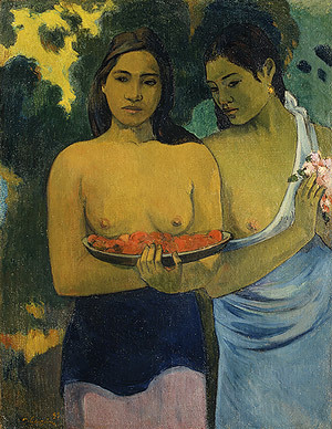 "Paul Gaugin ""Two Tahitian Women"" / fists   (In 2011, a 56-year old woman named Susan Burns visited the National Gallery of Art in Washington, which was holding a Gaugin retrospective at the time. Upon seeing this painting, she tried to wrench the painting from the wall and, unable to do so, began punching it with her fists. Because the painting was protected by a transparent acrylic shield, however, no damage was done.   After being arrested, Burns said, ""I feel that Gauguin is evil. He has nudity and is bad for the children. He has two women in the painting and it's very homosexual. I was trying to remove it. I think it should be burned."" She also warned the police, saying, ""I am from the American CIA and I have a radio in my head. I am going to kill you."")"
