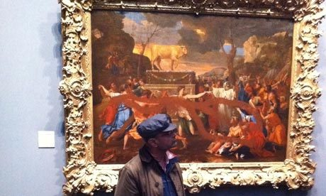 """Nicolas Poussin """"Adoration of the Golden Calf"""" and """"""""The Adoration of the Shepherds"""" / spray paint   (In 2011, these two paintings were defaced by a 57-year-old male visitor while on view at the National Gallery in London. Both paintings were able to be restored.)"""