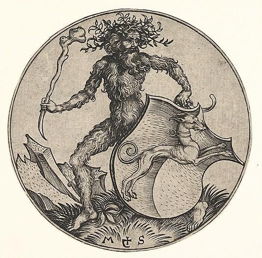 Shield with Greyhound Held by Wild Man, By Martin Schongauer
