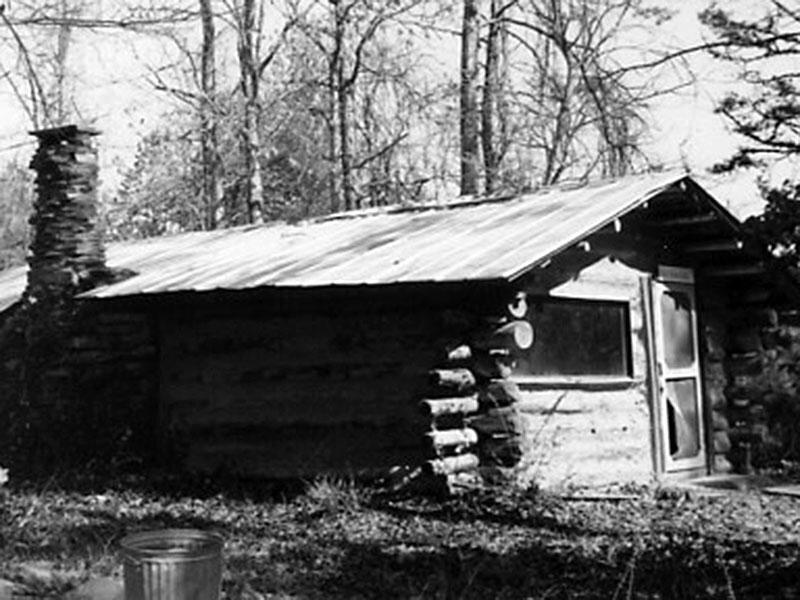 A cabin at Macedonia.  Photo by Edward Orser, 1975.