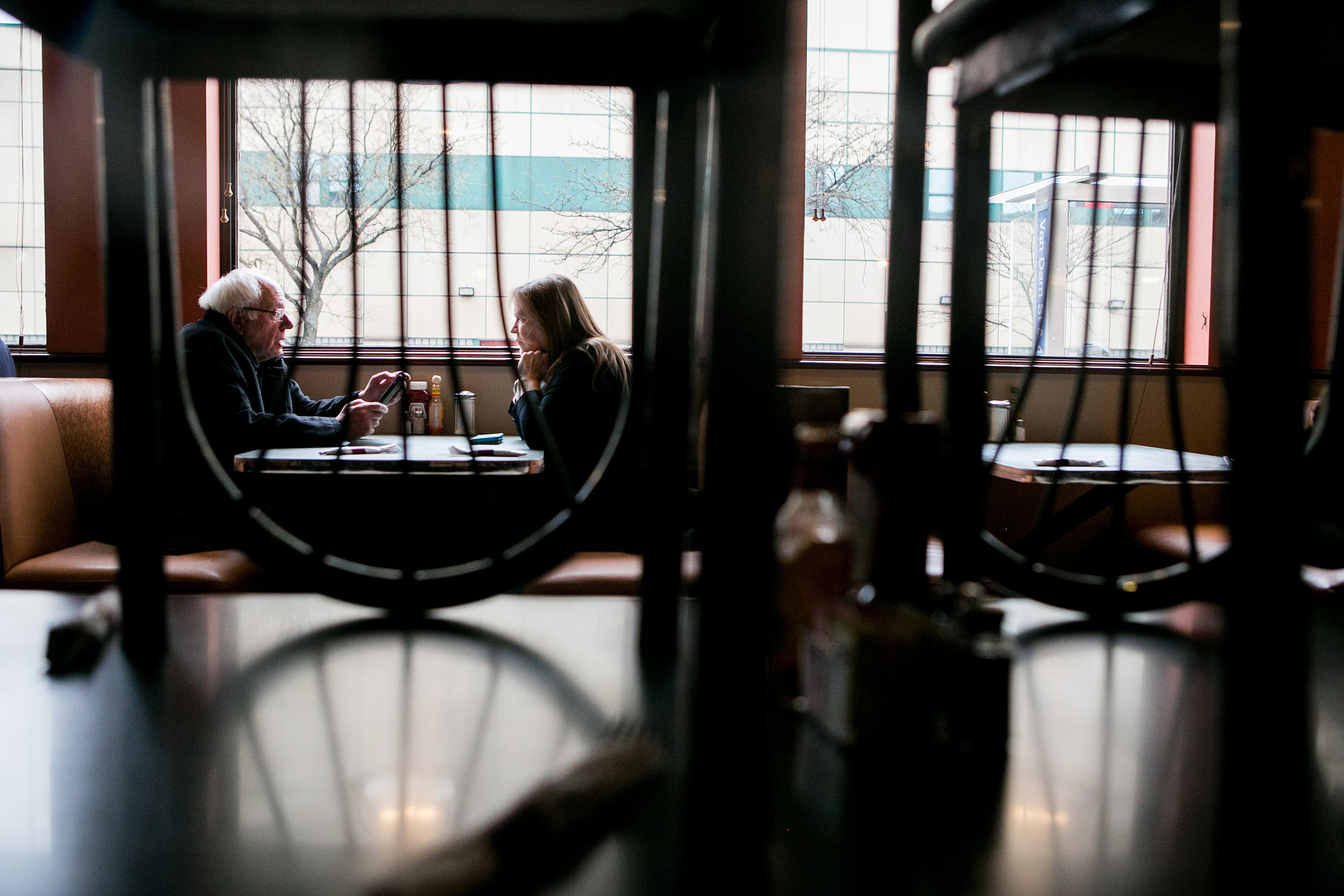 Bernie and his wife Jane have lunch at Van Dam Diner in Queens.