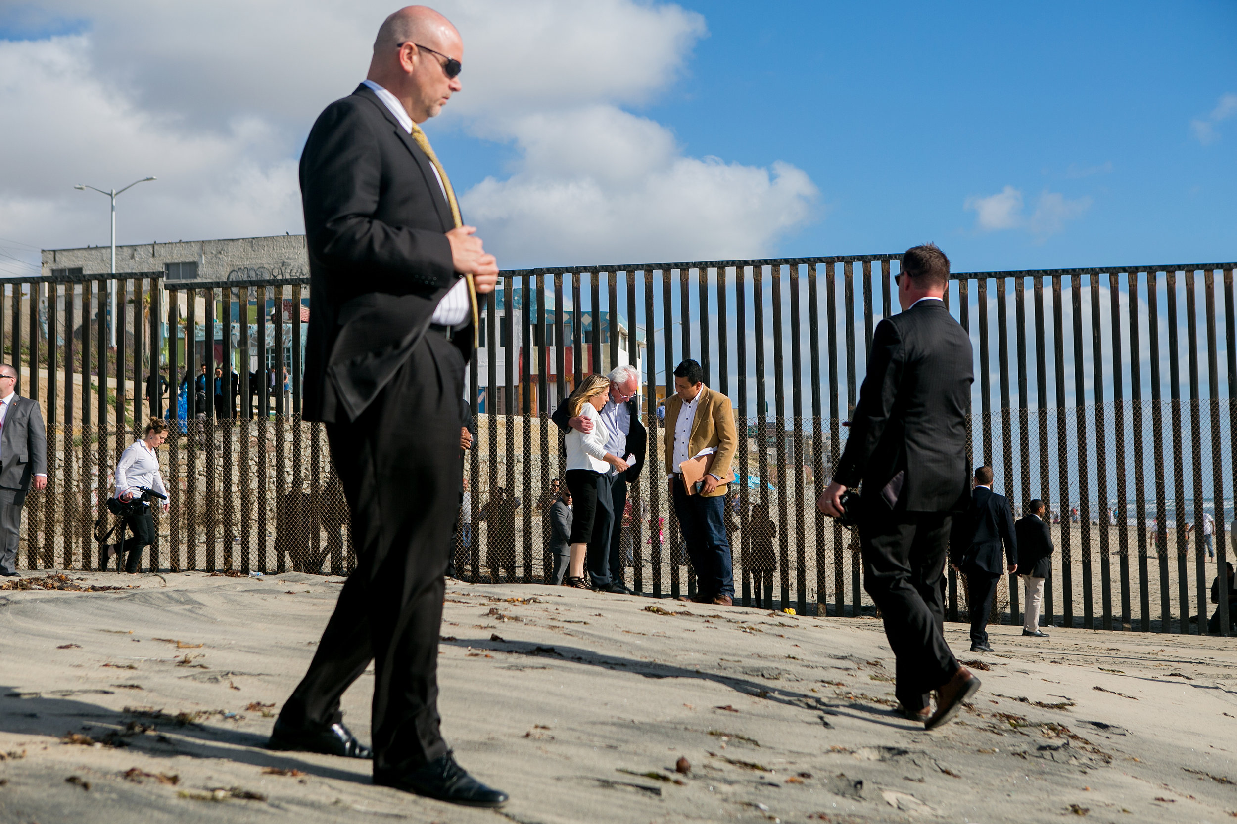 Bernie visited the U.S.-Mexico border at International Friendship Park alongside Maria Puga, whose husband Anastacio Hernandez Rojas died after an incident with Border Patrol agents and Christian Ramirez, director of Southern Border Communities Coalition in San Diego, California