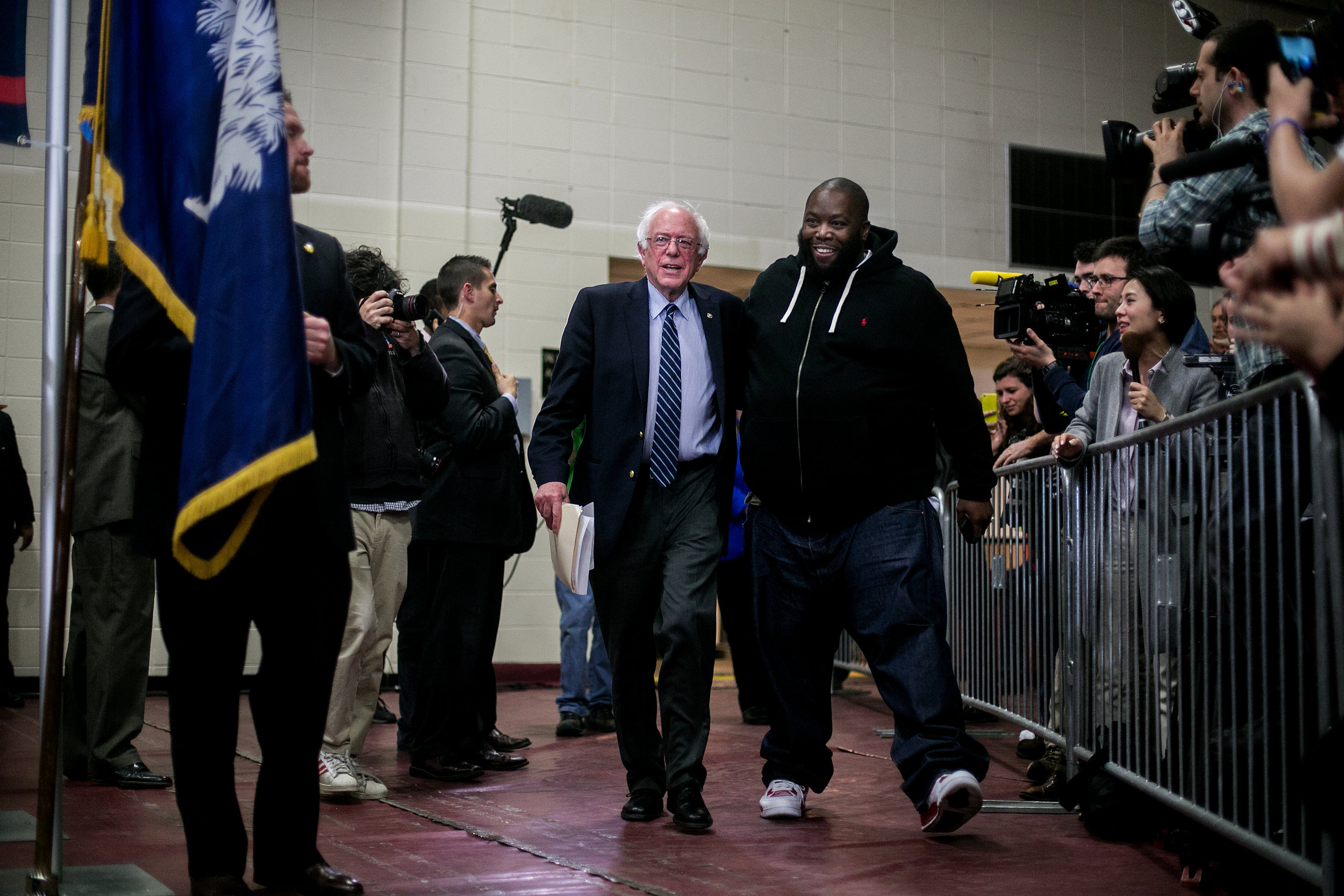 "Bernie takes the stage in Orangeburg, South Carolina alongside Killer Mike, who always introduced him as ""Bernard Sanders."""