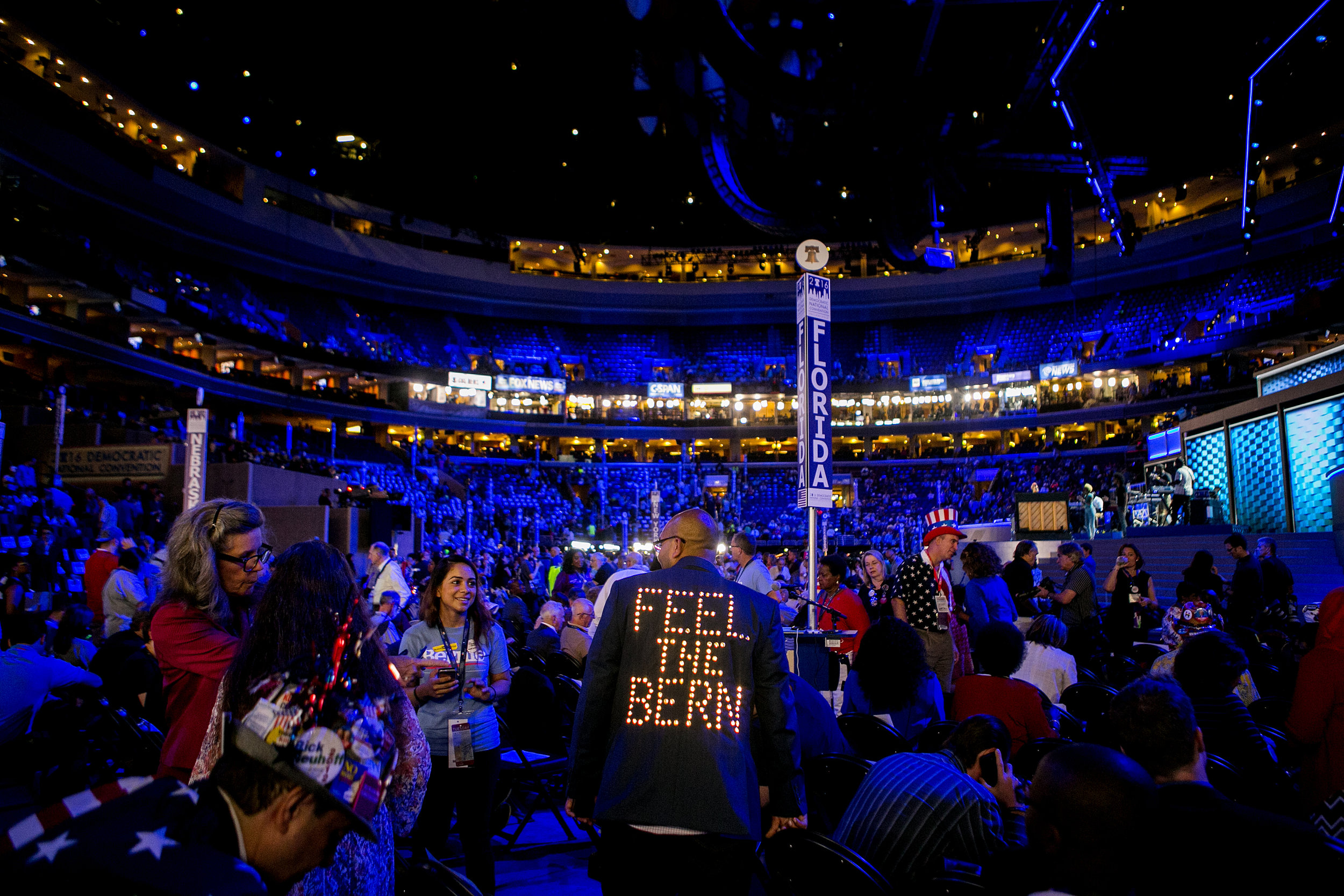 The convention floor -- a house divided.