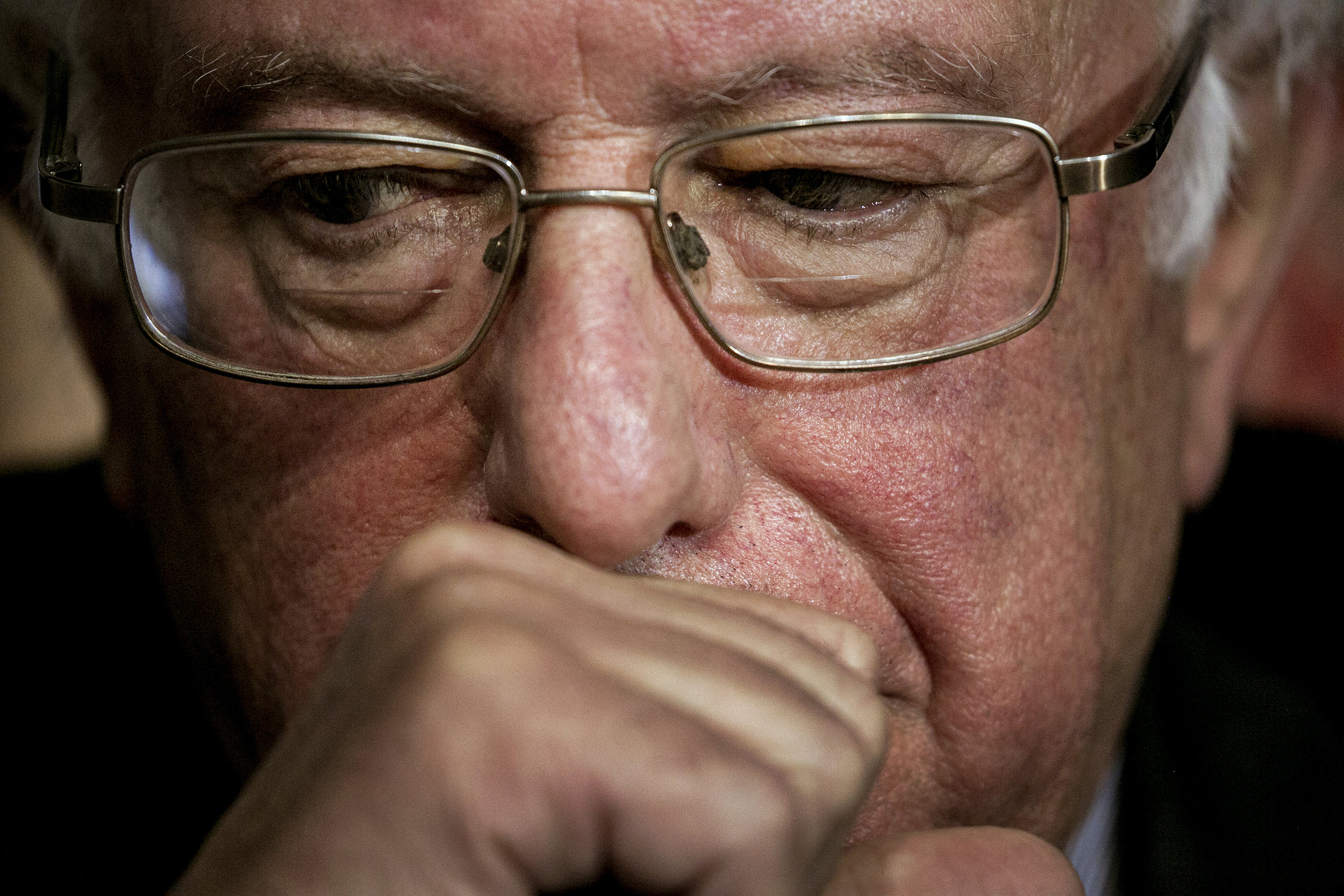Bernie just moments before he nominated Hillary Clinton by ascension, effectively ending his campaign.