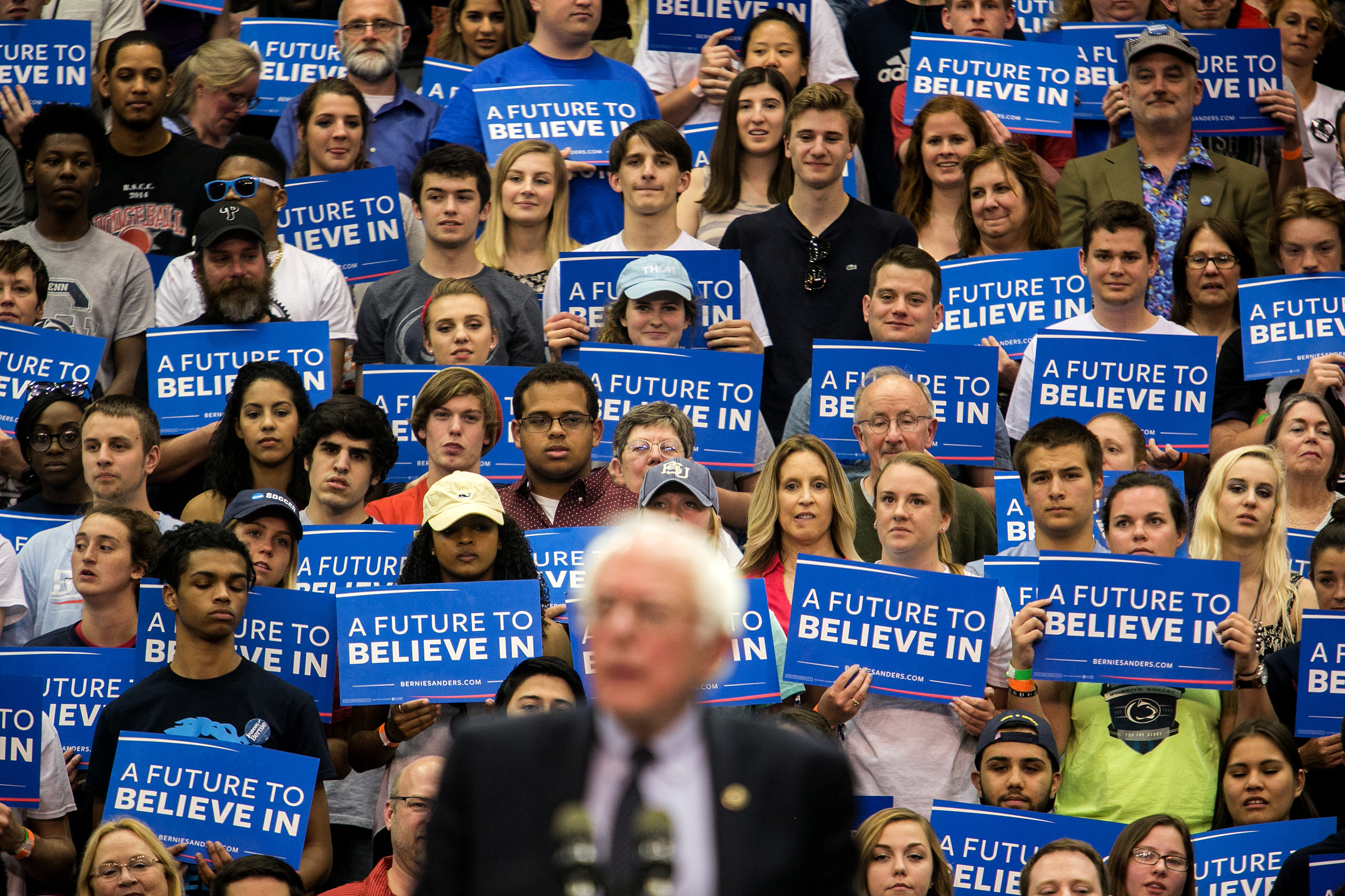 Bernie speaks to a crowd at a rally in State College, Pennsylvania.
