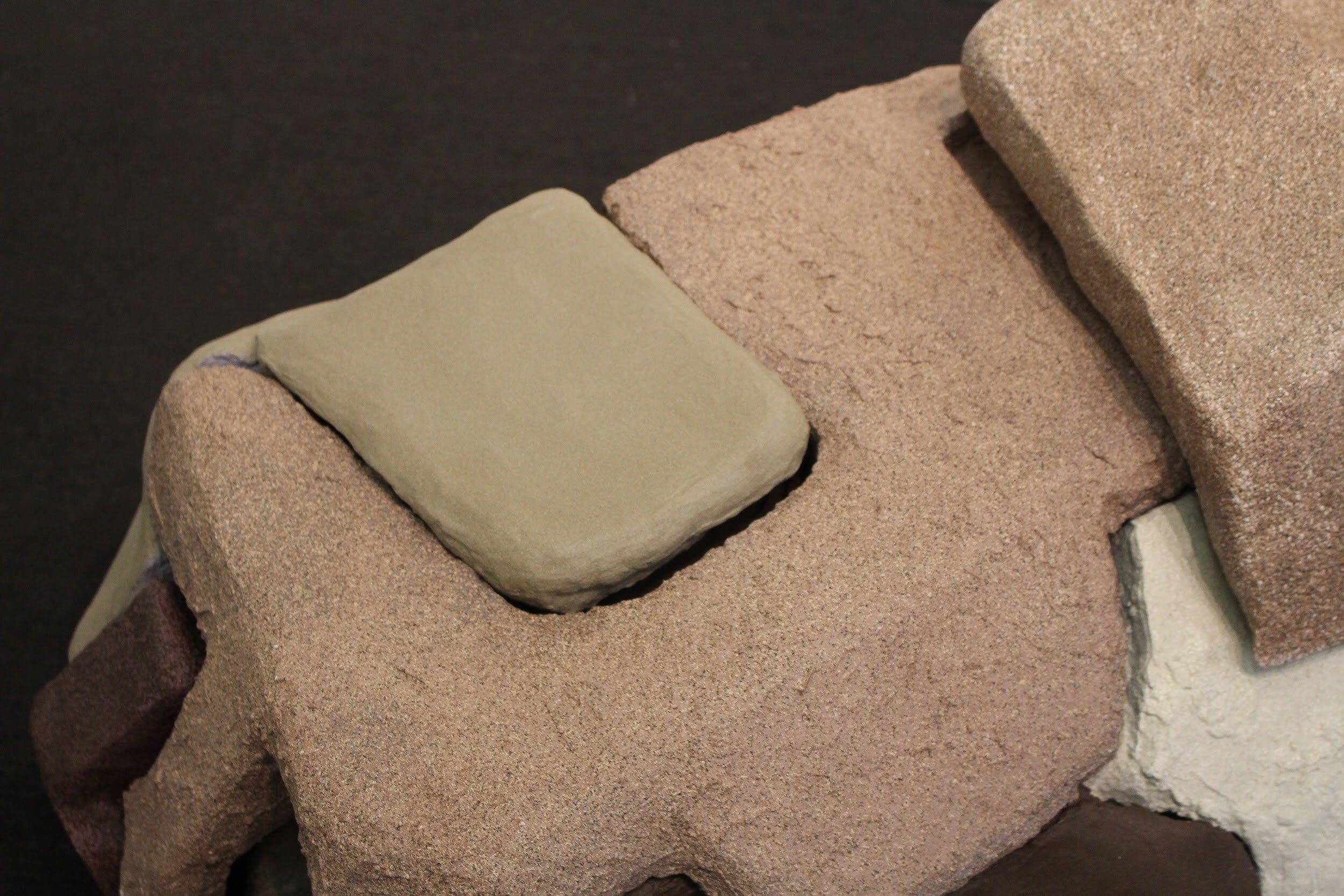 Multi Textured Blissed Dessert  (detail), Vacuum cleaner, cardboard, joint compound, spray paint, carpet, Susana Oliveros Amaya, 2019.