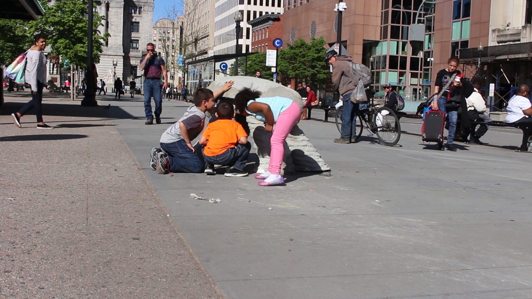 One who Cannot Live in the Present (Stability),  Kennedy Plaza, Performance Still (Providence, Rhode Island), 2019, courtesy of the artist