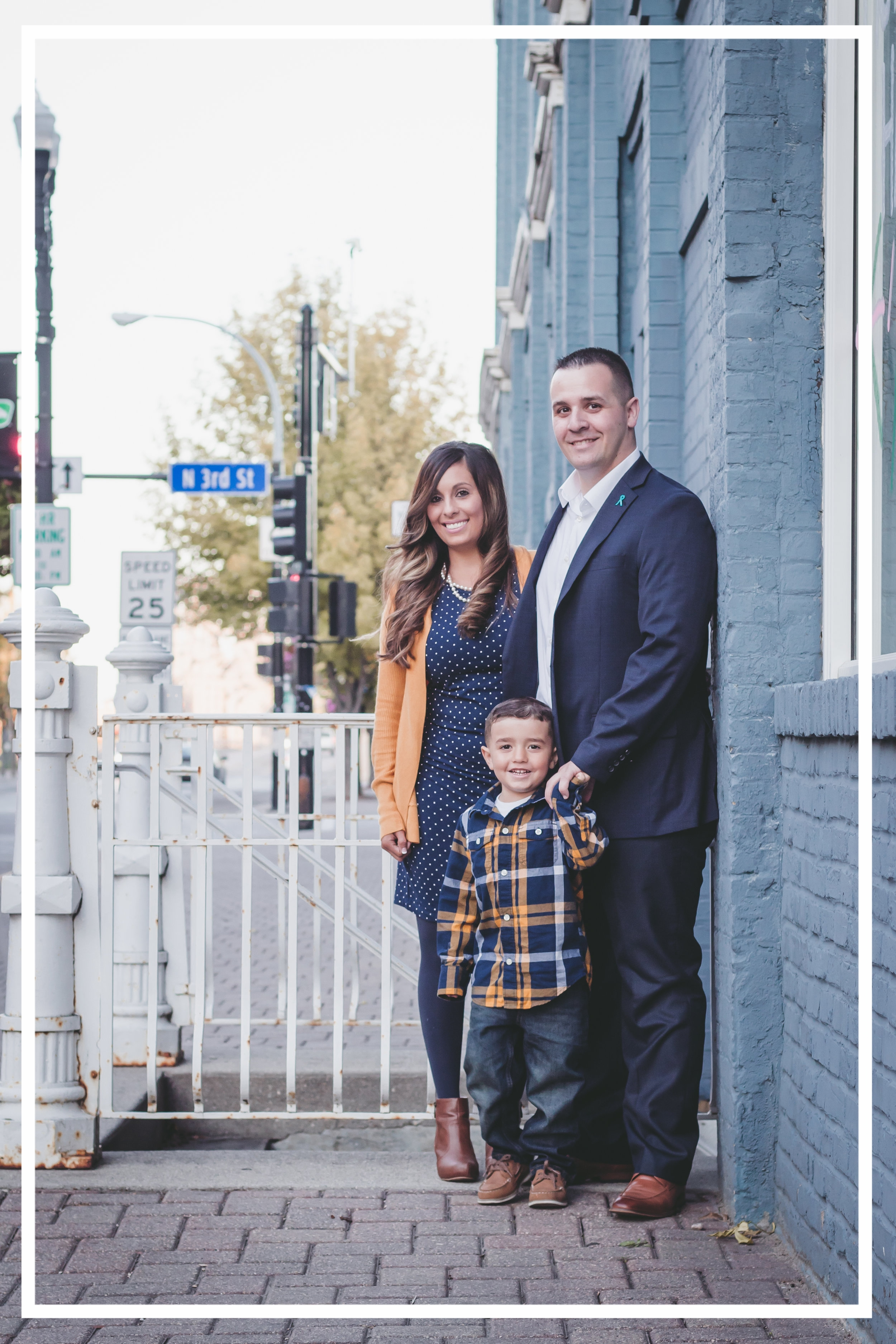 Danny Weigel and his family in downtown Grand Forks.