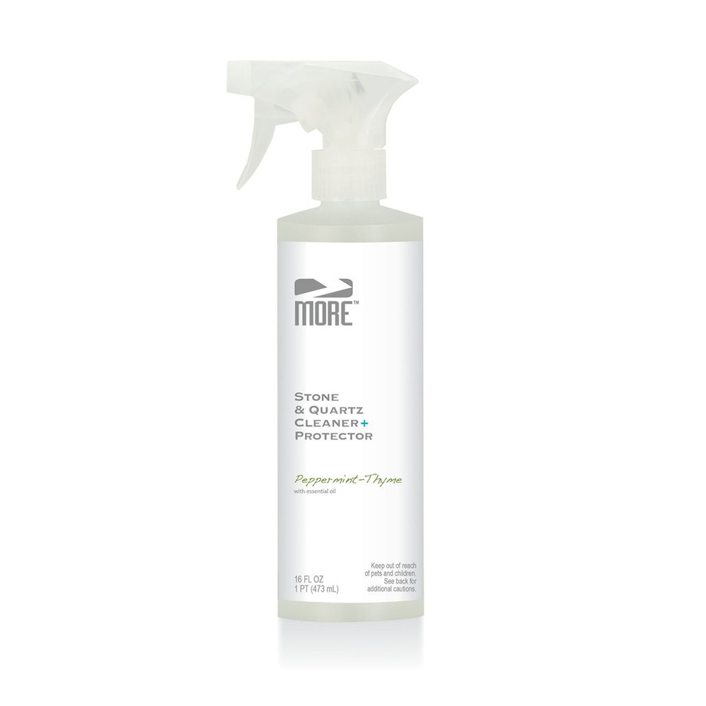 MORE™ STONE + QUARTZ CLEANER + PROTECTOR   A 2-in-1 daily cleaner and protector formulated specifically for cleaning and protecting natural stone and quartz surfaces. Neutral pH formula is safe for everyday use.  16 OZ |MOR.PROTECTOR-16