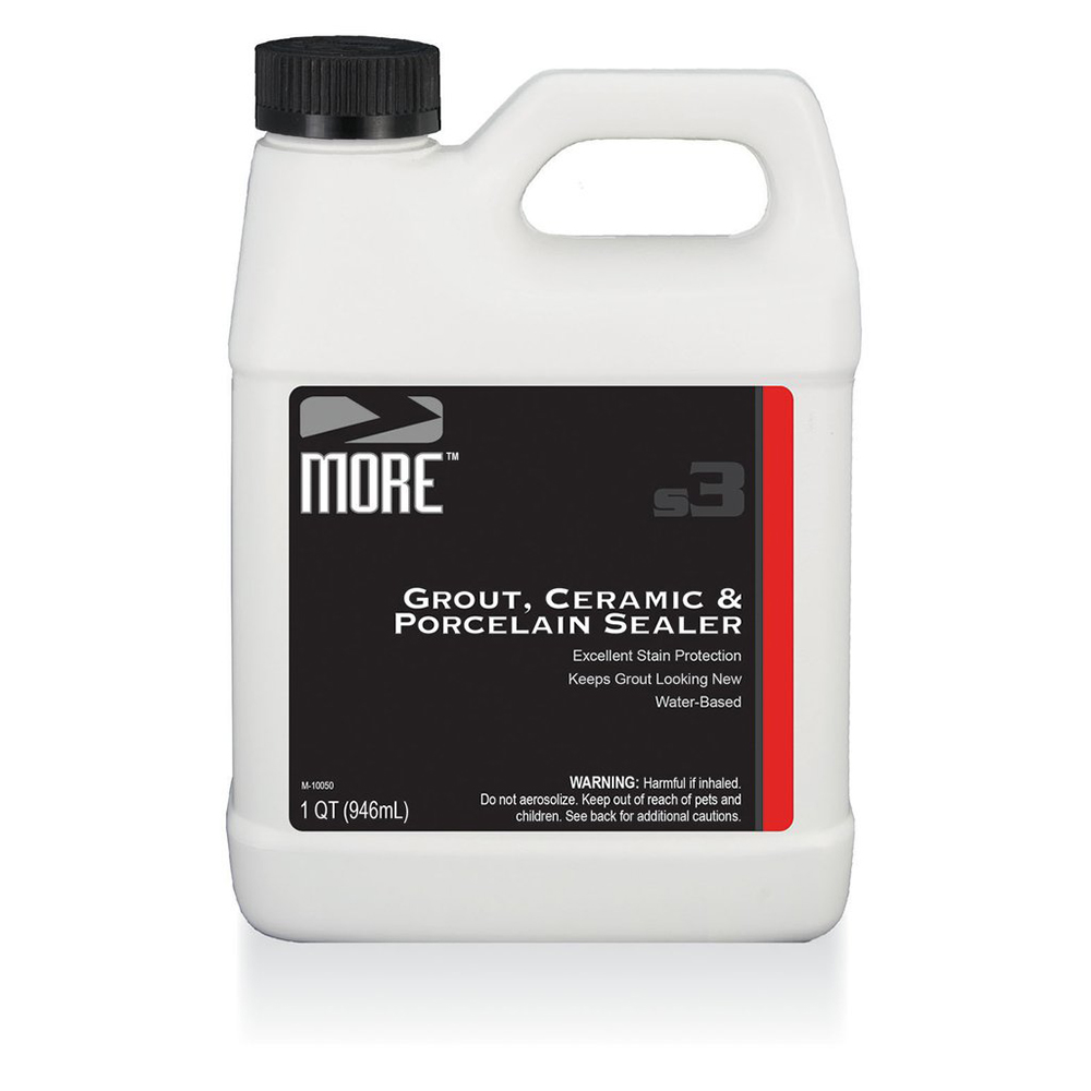 MORE™ GROUT, CERAMIC, & PORCELAIN SEALER   A penetrating natural-look sealer that forms an invisible barrier to protect grout, ceramic and porcelain from both oil and water-based stains.    16OZ | MOR.GCP-16-SPRAY  QUART | MOR.GCP-QT  1 GALLON | MOR.GCP-GAL