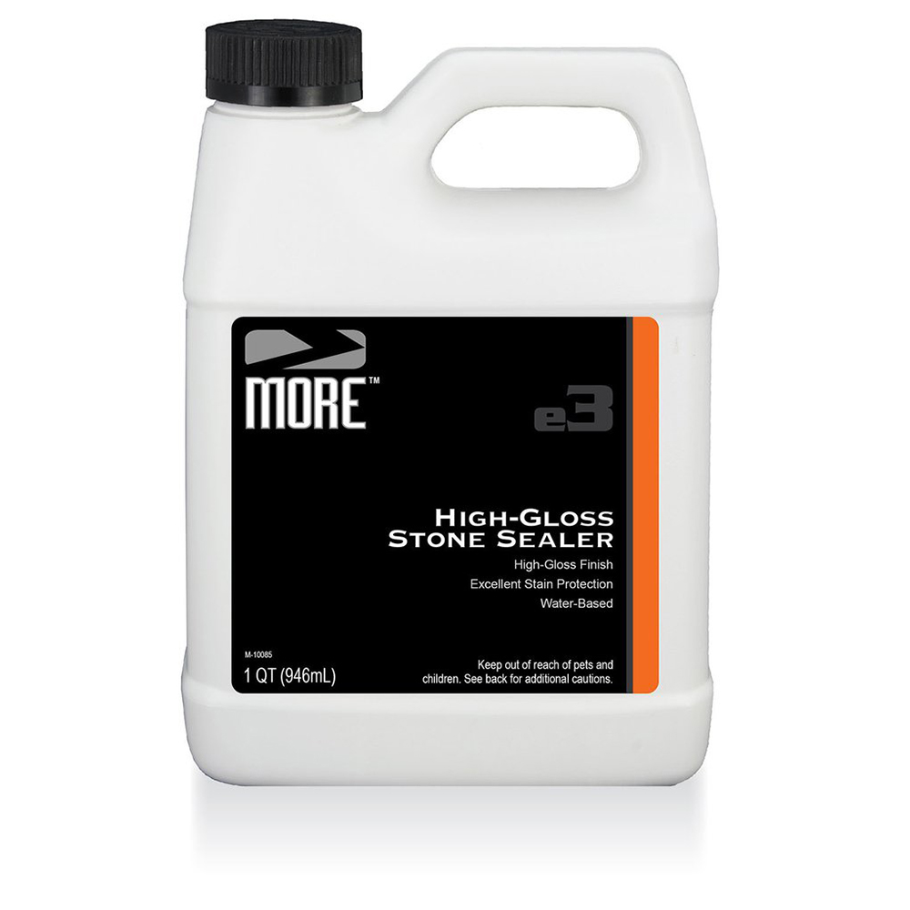 MORE™ HIGH GLOSS STONE SEALER   A  high-gloss  sealer that highlights the color, texture and unique character of natural stone and concrete surfaces. Provides excellent stain protection.  QUART |MOR.H/GLOSS.QT  1 GALLON |MOR.H/GLOSS.GAL