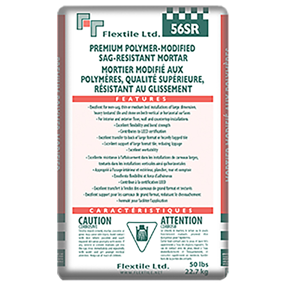 56SR PREMIUM SAG-RESISTANT   56 SR is a premium-grade, sag resistant mortar, designed specifically for thin or medium-bed, wall, floor and countertop installation of large format tile and stone.  56SR provides excellent sag resistance and mortar transfer to backs of larger format tile & stone on vertical applications, as well as superior tile support and mortar transfer on horizontal applications.  A premium polymer modified dry set mortar consisting of high performance polymers and water retention additives, carefully graded sands, Portland cement, and special additives, which contribute to the unique characteristics of 56SR.