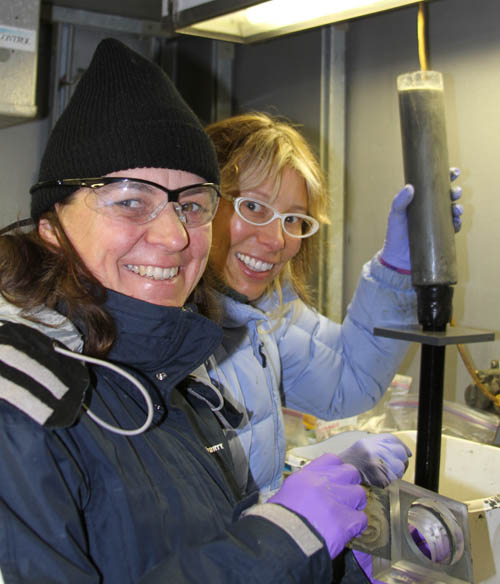 erena and Laura processing cores in the cold room