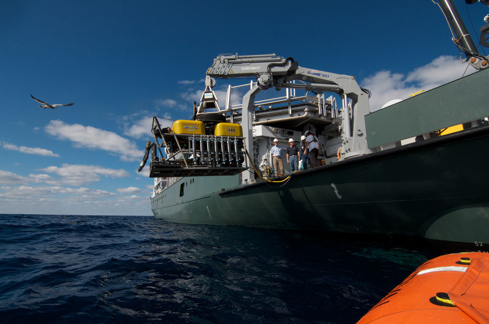 ROV Global Explorer MK3 is part of the instrumentation supplied by the Schmidt Ocean Institute for the research cruise. See the cruise log titled Deep-sea Surprises for an explanation of its imaging capabilities. (Image by Debbie Nail Meyer, Schmidt Ocean Institute)