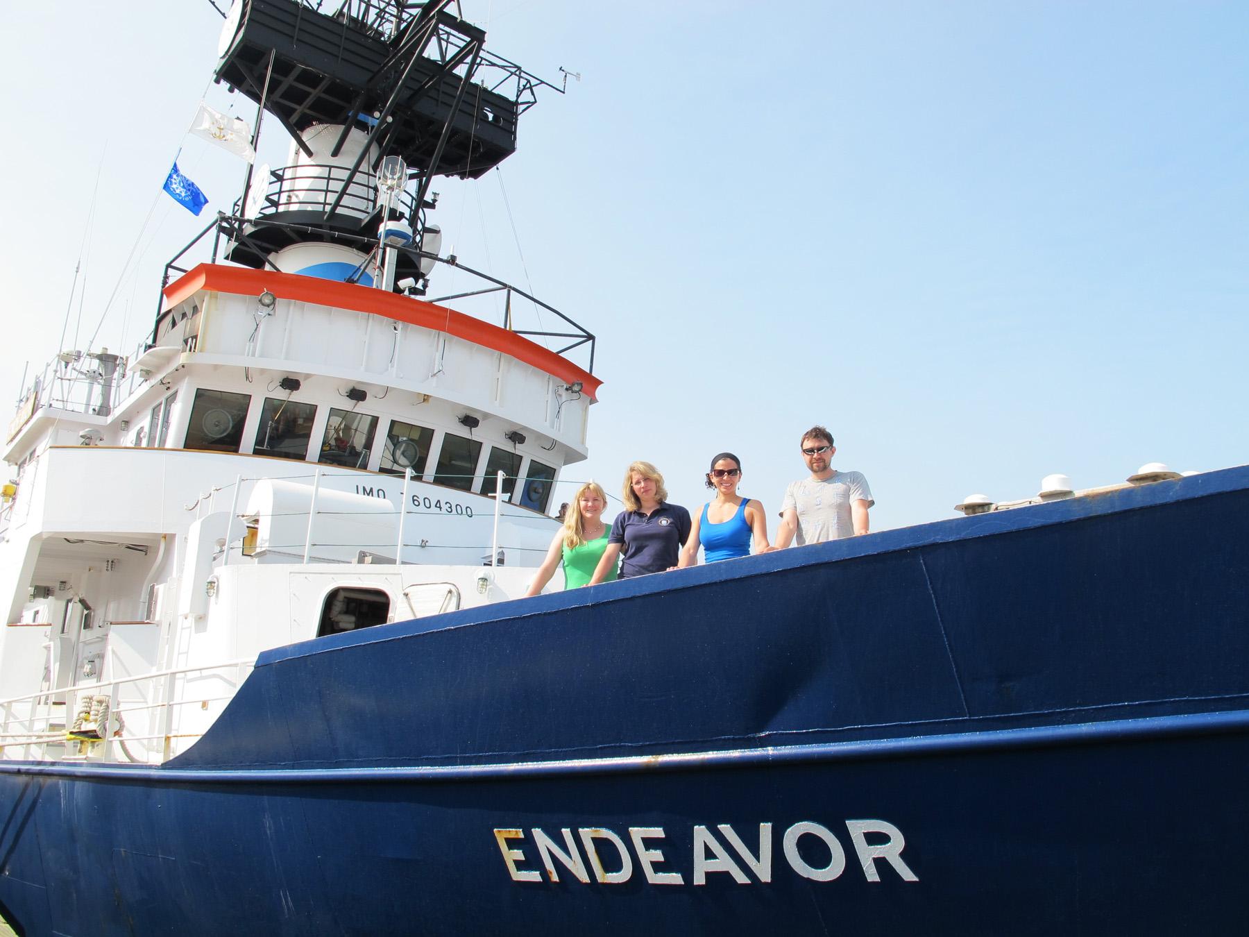 R/V Endeavor on June, 2012 cruise with Joye Research Group team (lt to rt: Joy Battles, Johanna Schweers, Dr. Melitza Crespo-Medina, and Ryan Sibert)
