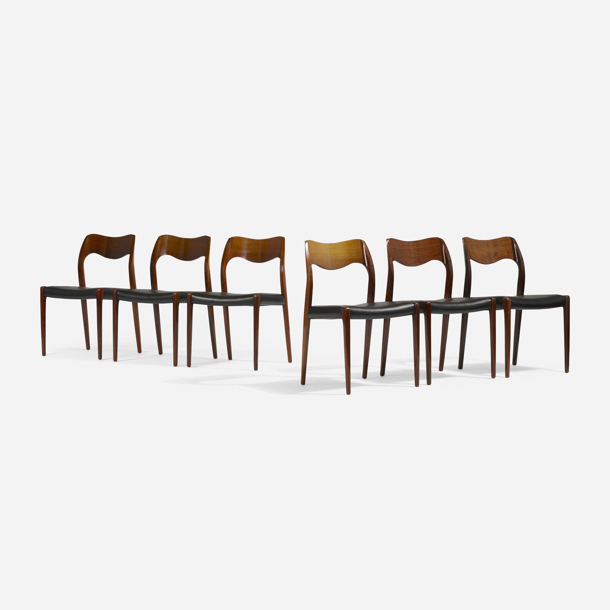Meller Dining Chairs   Price Upon Request. Email mylaoutpost@gmail.com  J.L. Møllers Møbelfabrik Denmark, 1951 rosewood, leather 19½ w × 20 d × 31½ h in 50 × 51 × 80 cm