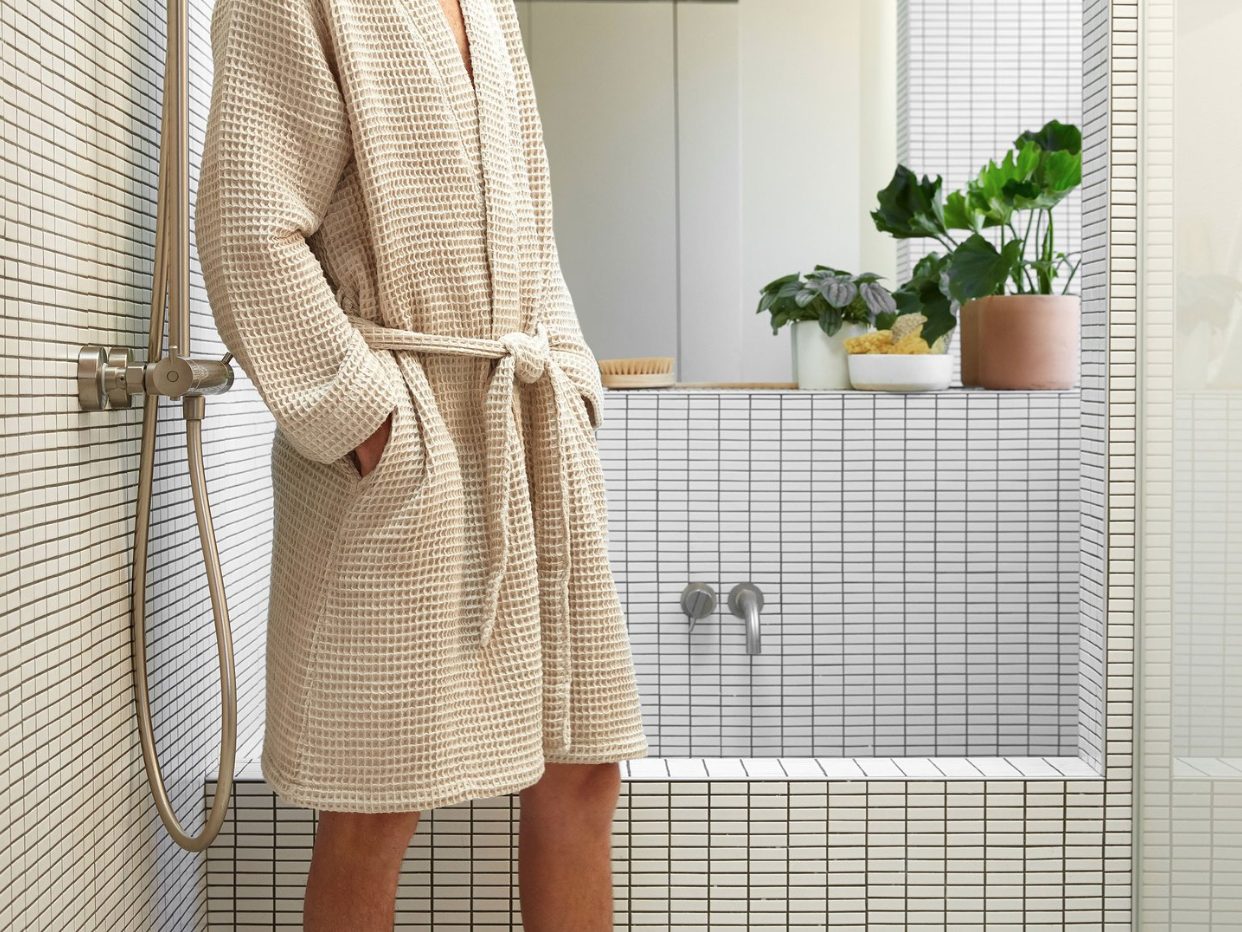 Parachute Waffle Robe   Relax in this lightweight, softly textured Bathrobe inspired by the world's finest spas. Features two hip pockets, a folded collar and secure waist tie.