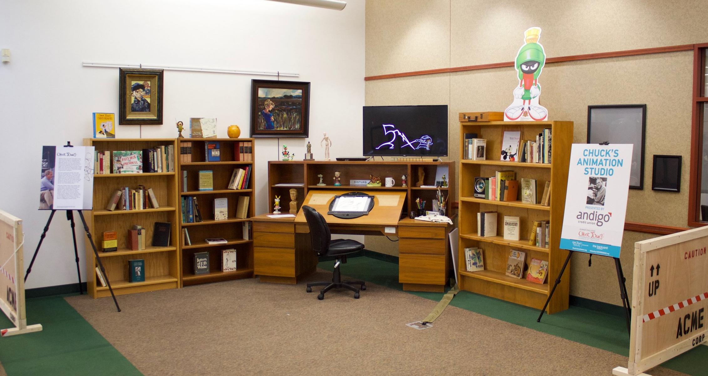 Chuck Jones animation desk and library on display