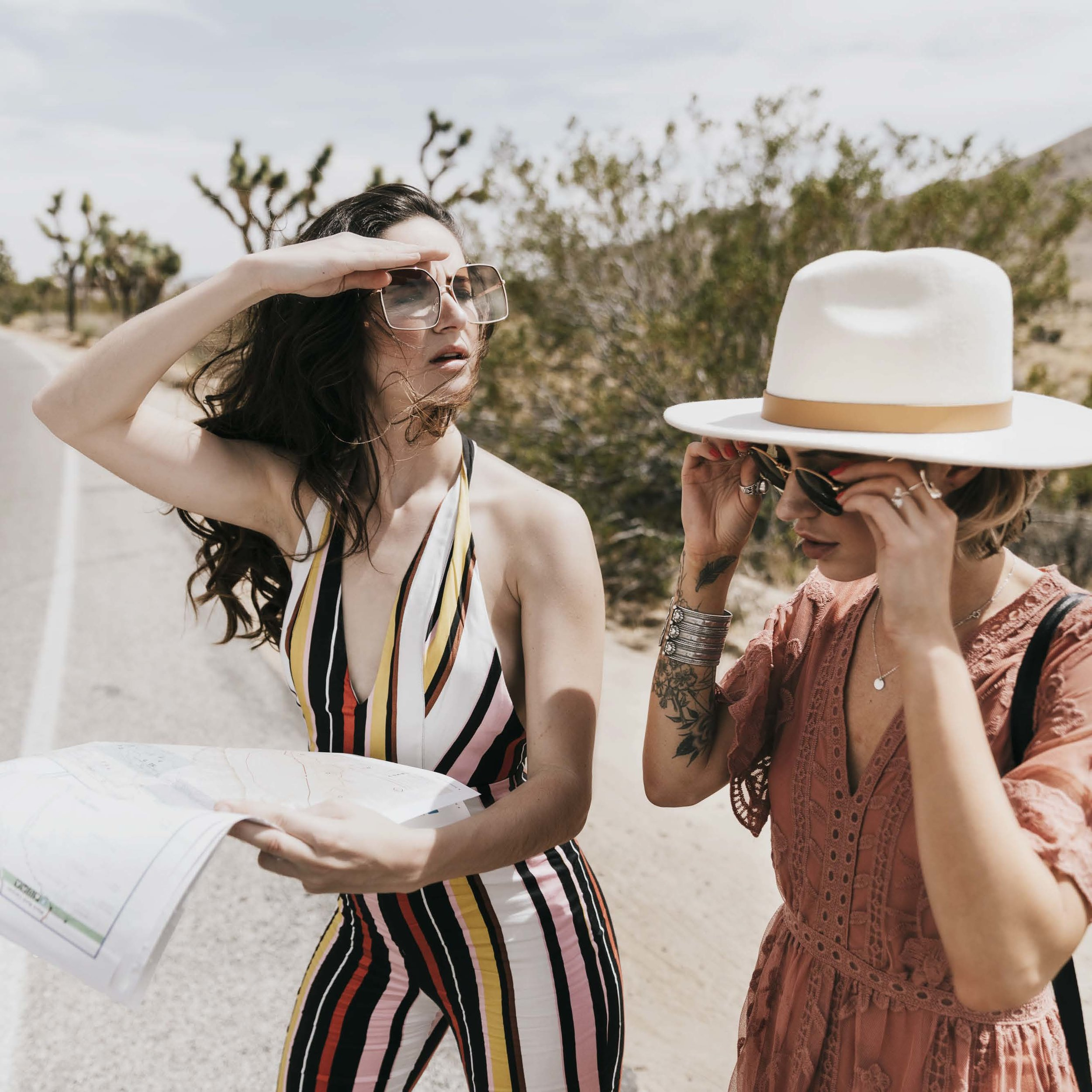 """""""roadtrippin'"""" for promo mag - This story was put together by an amazing FULL TGS TEAM! Models/Stylists: Christy Soeder and Jackie Fernandez. Photographer: Daniel Brittain. Makeup Artist: Alex Flores. This is a gorgeous summer vibe Joshua Tree set that you won't want to miss!Check It Out!"""