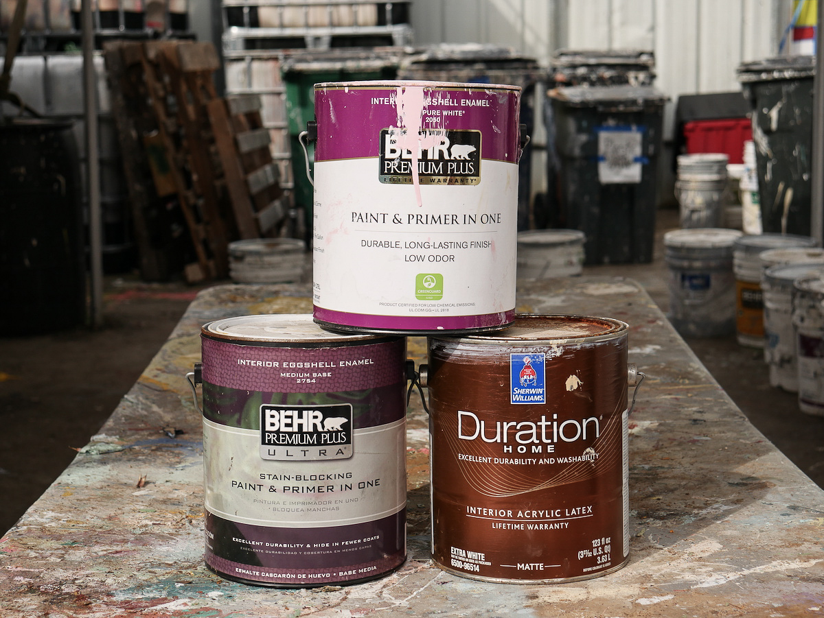 """Latex Paint: Labels will say """"latex"""" or """"water-based"""" or will advise clean-up with soapy water"""
