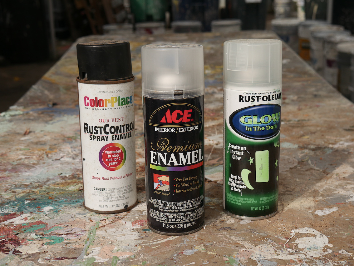 """Spray Paint: Paint comes in pressurized can. Labels may say """"enamel"""" or """"spray paint"""""""