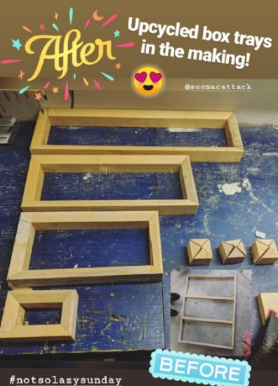 My loving boyfriend made me 4 trays + 4 risers (not pictured) from reclaimed wood